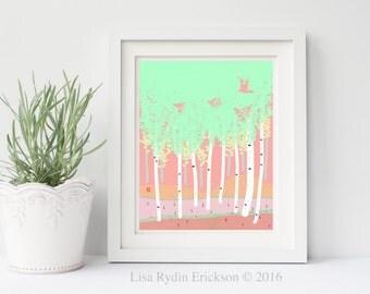 Spring Birch Art Print, Original Art, Botanical, Woodland, iPad Drawing