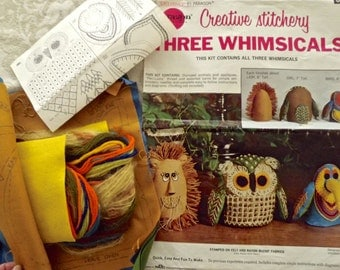 Vtg Embroidery+Applique KIT~3 WHIMSICAL Animals:Lion+Owl+Bird~Paragon~Repackaged