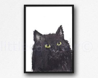 Cat Print Fluffy Black Cat Watercolor Painting Cat Lover Art Print Watercolour Print Watercolour Wall Art