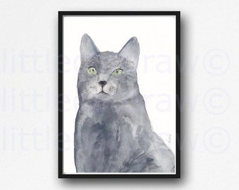 Cat Print Cat Lover Grey Pretty Kitty Cat Watercolor Painting Print Watercolour Wall Art Watercolor Cat Print