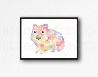 Wombat Print Colorful Watercolor Painting Art Print Illustration Art Drawing Watercolor Print Watercolour Wall Art Watercolor