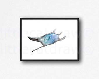 Stingray Print Watercolor Blue Gray Beach Decor Fish Art Blue Sea Wall Art Watercolor Painting Print Nautical Home Decor Unframed Print