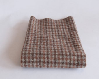 Felted Wool Fabric, Fat Quarter, Tan/Brown Plaid
