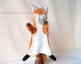 Steiff hand puppet fox Smardy, vintage 1965 - 1978, red mohair fox with tail, vintage animal glove puppet, old puppet theatre fox doll