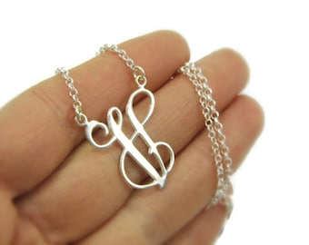 One initial necklace. Monogram Initial necklace. Personalized Necklace 1 inch. Letter necklace. initial jewelry. gift
