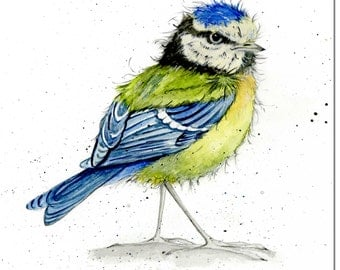 Blue Tit Greeting Card - Garden Bird Card, Blank Inside