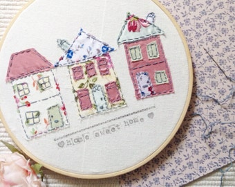 Housewarming gift / hoop art / embroidery / shabby chic / home sweet home / wall art / home decor / hand stitched / collage / houses