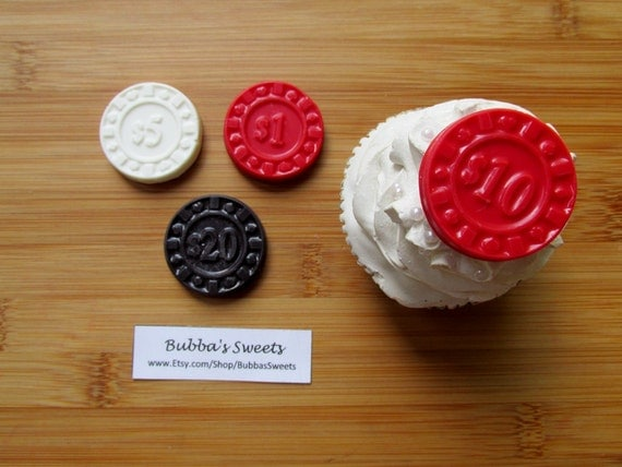Poker chip cupcake toppers