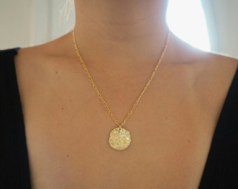 14k Gold Textured Coin Charm Necklace