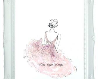 Glitter Ballerina Original Painting - Shabby Chic Fairytale Children's Bedroom Decor - Wall Art -  Pink Decor - A4 - 10x8 - Ballet Art