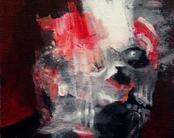 Original Shelf Sitter Painting by CES - Halloween Dark Arts Francis Bacon Skull Wood Outsider Red Small Horror Macabre Spooky Scary Face ART