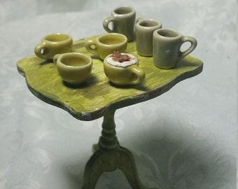 Miniature ceramic mugs. Miniature cups. Miniature lot. Miniature furniture.  Miniature accessories. Miniature food. Dollhouse miniatures.