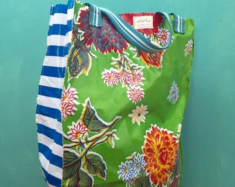 Oil Cloth Market Tote in Get it Green