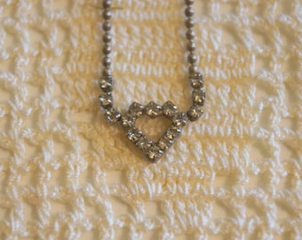 Vintage Silver Heart Necklace with Stones