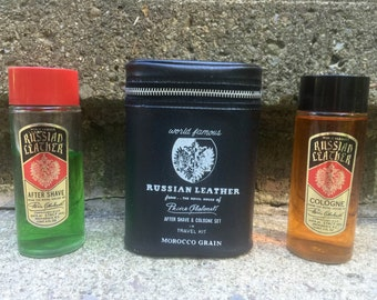 Barbershop Russian Leather After Shave and Cologne Set in Travel Kit