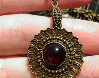 D20 Almadine Garnet handmade gemstone medallion pendant