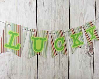 Lucky Banner, St Patricks Day Banner, St Patricks Garland, Irish Decor, Kiss Me Banner, Shamrock Garland, St Pattys Day