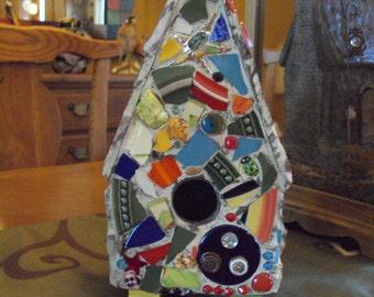 Colorful Mosaic on Metal Birdhouse