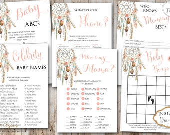 INSTANT DOWNLOAD - Dream Catcher Boho Tribal Feather Floral BABY Games Package - Printable Shower Games - Dreamcatcher Baby Shower - 0332