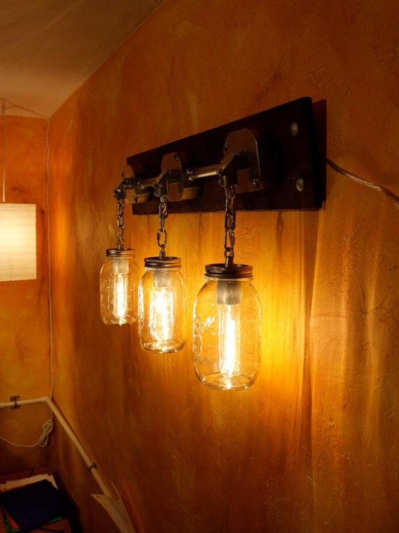 Industrial Mason Jar Light Sconce Or Rustic Vanity By