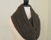 DARK BROWN INFINITY Scarf Cowl Knit Chunky Infiniti Scarf Mens Infinity Womens Infinity Scarves Infinity Circle Scarf Gift Idea Gift for Him