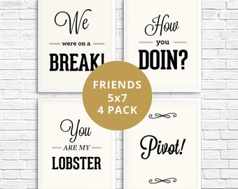 Friends TV Show, Typography Prints, Typography Wall Art, Print Collection, Wall Decor, You Are My Lobster, How You Doin, Pivot, Office Decor