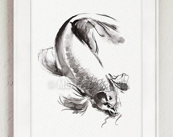 Japanese Koi Fish Painting, Sumi-e Painting, Ink Brush Art, Gold Fish, Lucky Symbol
