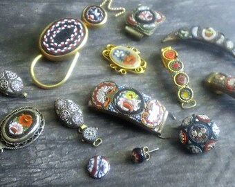 Vintage MicroMosaic LOT of Jewelry Bits and CAT Brooch - Jewelry Making