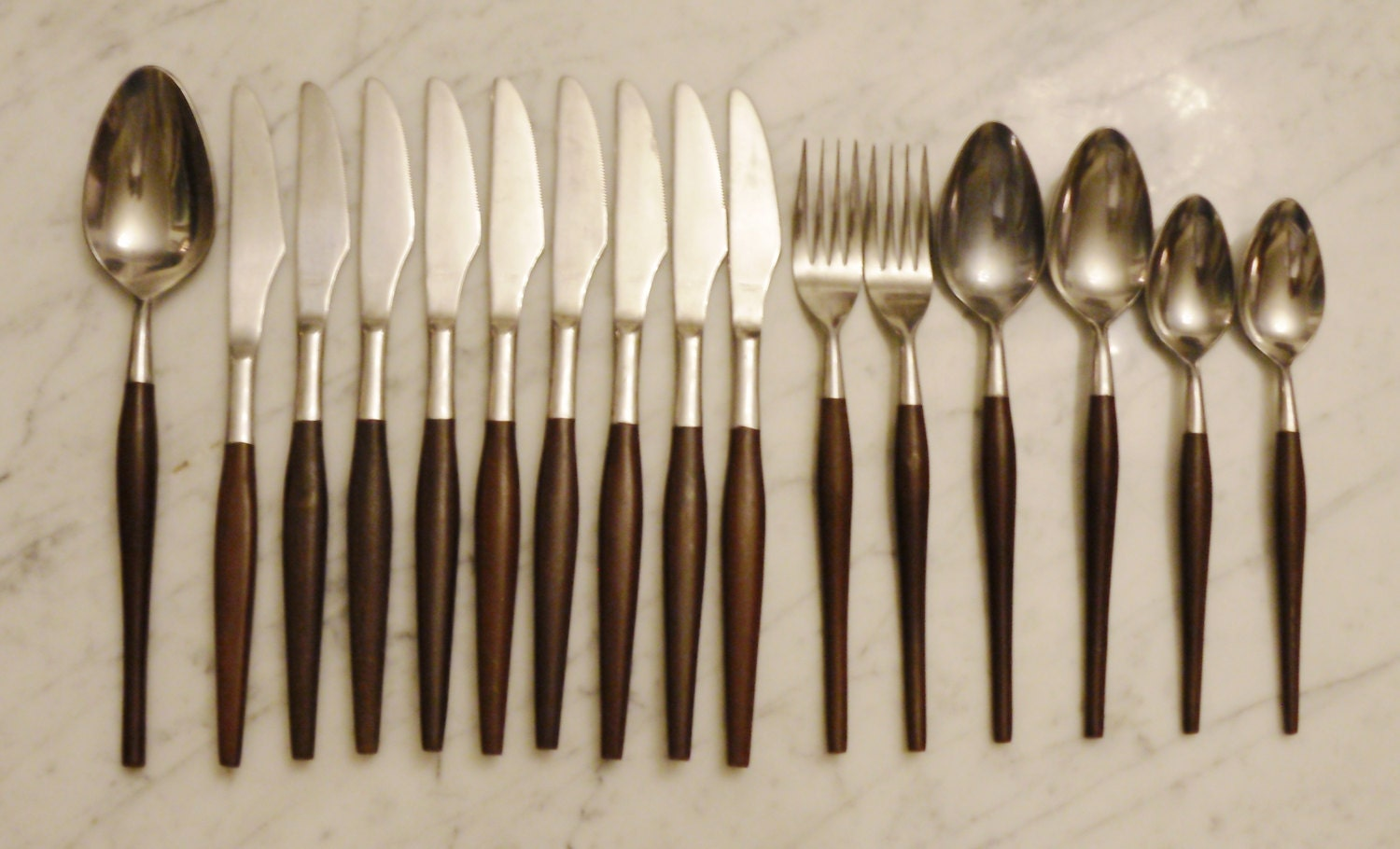 16pc Vintage Japan Stainless Faux Wood Rounded Handle