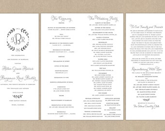 Printable Folded Wedding Program // Grey Wreath