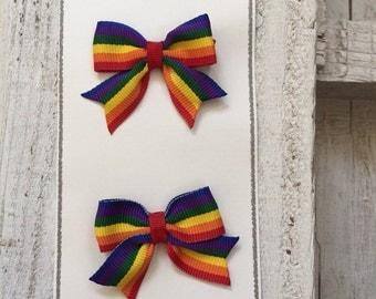 Rainbow Hair Bows, Rainbow Hair Bow, Pigtail Hair Bows, Rainbow Pigtail Hair Bows