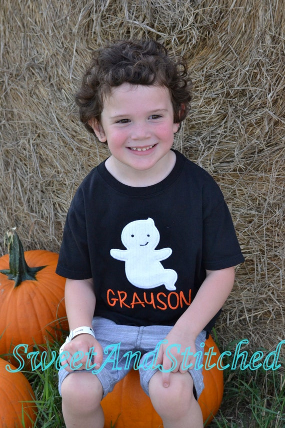 Boys Personalized Ghost Halloween Shirt or Tee in Black - Boys Halloween shirt - boys fall ghost shirt or tee