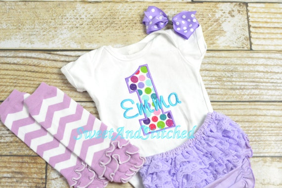 Polka dot First (1st) Birthday Outfit with ruffle bloomers - First birthday outfit!  Birthday Outfit, cake smash, pink, purple or turquoise