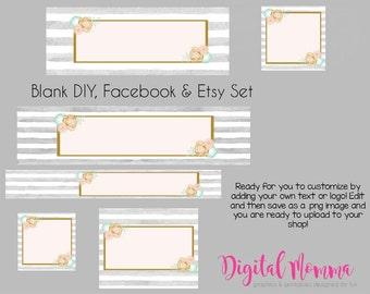 Blank Peach Mint Floral Shop Graphics, Watercolor Floral Facebook, Etsy Set, Instant Download!