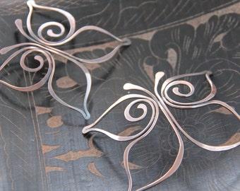 Butterfly oxidized copper hair slide, hair barrette, hair pin, hair accessories