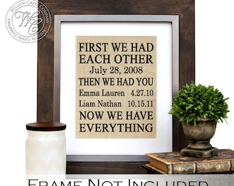 First We Had Each Other, Then We Had You, Now We Have Everything, Gift for parents , Anniversary Gift, gift for mom, Mothers Day Gift