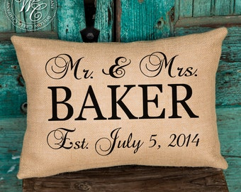 Sister in law gift, Personalized WEDDING Gift BURLAP PILLOW, Pillow with Mr. and Mrs., Last Name Established Date, Wedding Gift
