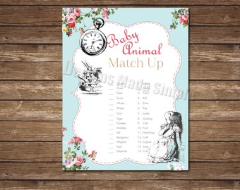 Baby Animal Match Game - Alice in Wonderland Baby Shower Game - instant download
