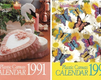 Set of 2 Plastic Canvas Calendars (1991 & 1992)