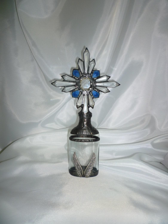 Vintage Bottle With Chandelier Crystal Cross Cobalt Prism