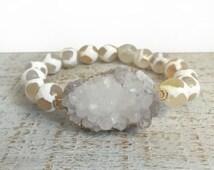 Gemstone & Druzy Stretch Bracelet, Spotted White Agate Bracelet, Presh Bracelet, Crystal Gold Stretch Bracelet, White Quartz Bracelet