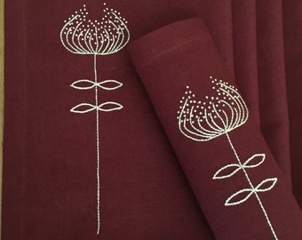 Linen Placemats Hand Embroidery Set 6 Red Wine Colour