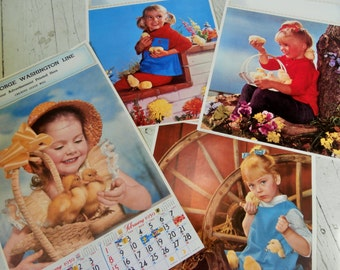 Vintage, 1959, Champion Line, USA LITHO, Children, Baby Chicks, Ducklings, Set of Four