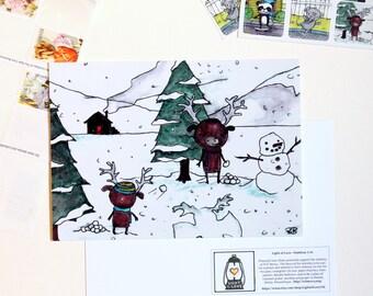 Moose Snowball Fight Postcard 4x6