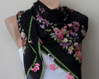 black scarf pink flower purple green yellow  turkish yemeni scarf crochet oya scarf