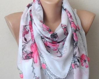 white pink scarf flower gray cotton turkish yemeni oya scarf handmade scarf