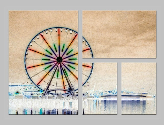 Seattle Waterfront Ferris Wheel. Abstract Photography. Shabby Chic Wall Decor. Metal Prints. FREE SHIPPING.