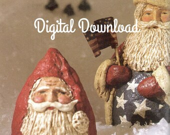 Santa Claus, Christmas Ornament, Paper Mache Pattern, Make using Styrofoam Shapes, PDF Instant, Digital Download,