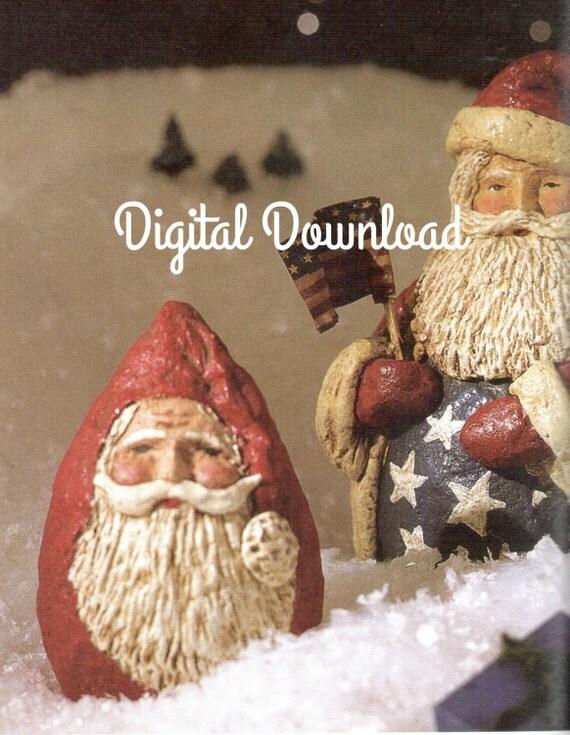 Santa Claus, Christmas Ornament, Paper Mache Pattern, Make using Styrofoam Shapes, PDF Instant, Digital Download,