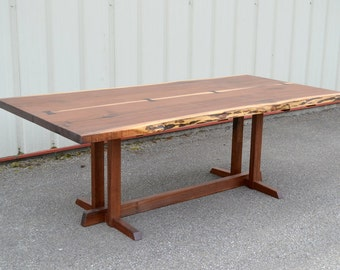 Seven Foot Walnut Dining Table with Nakashima Style Base